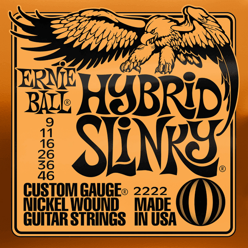 Ernie Ball Cordes de Guitare électrique, Hybrid Slinky, 09-46, Nickel-nl