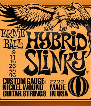 Ernie Ball Cordes de Guitare électrique, Hybrid Slinky, 09-46, Nickel