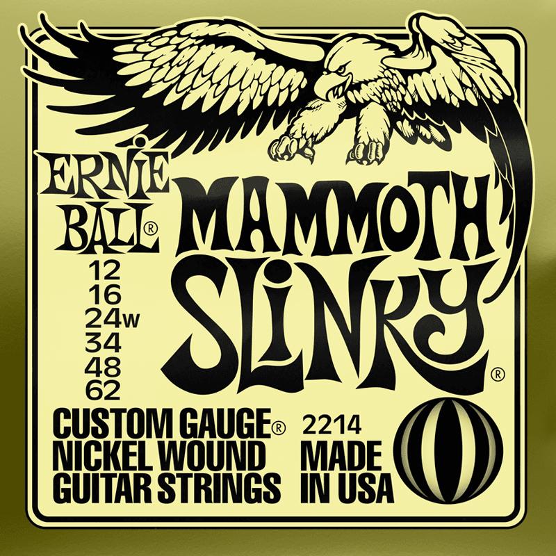 Ernie Ball Cordes de Guitare électrique, Mammoth Slinky, 12-62, Nickel