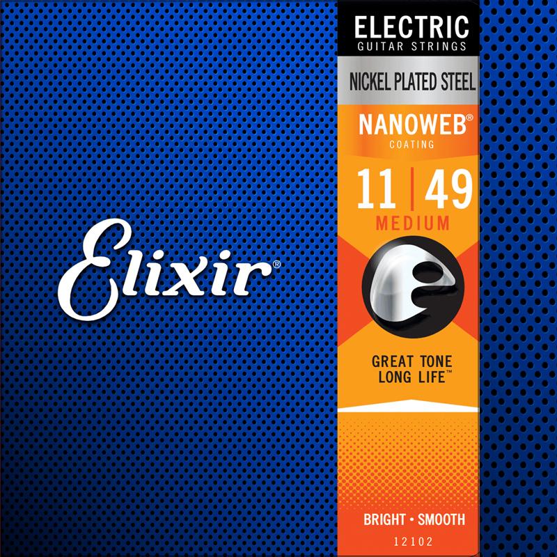 Elixir Cordes de Guitare électrique, 12102, 11-49, Nanoweb Nickel