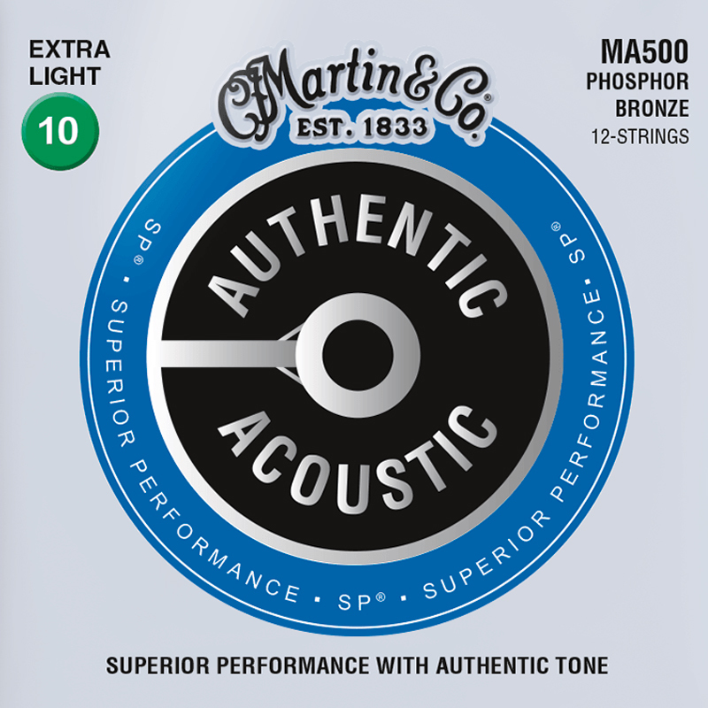 Martin Guitars MA500 Acoustic SP 92/8 Phosphor Bronze Extra Light  (12-Cordes)