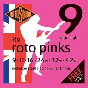Rotosound R9 Cordes de Guitare électrique, Super Light, 09-42, Nickel