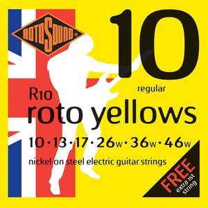 Rotosound R10 Cordes de Guitare électrique, Régular, 10-46, Nickel