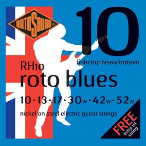 Rotosound RH10 Cordes de Guitare électrique, Light Top Heavy Bottom, 10-52, Nickel