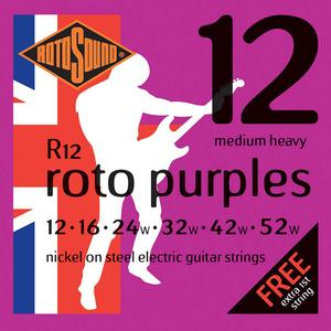 Rotosound R12 Cordes de Guitare électrique, Medium Heavy, 12-52, Nickel