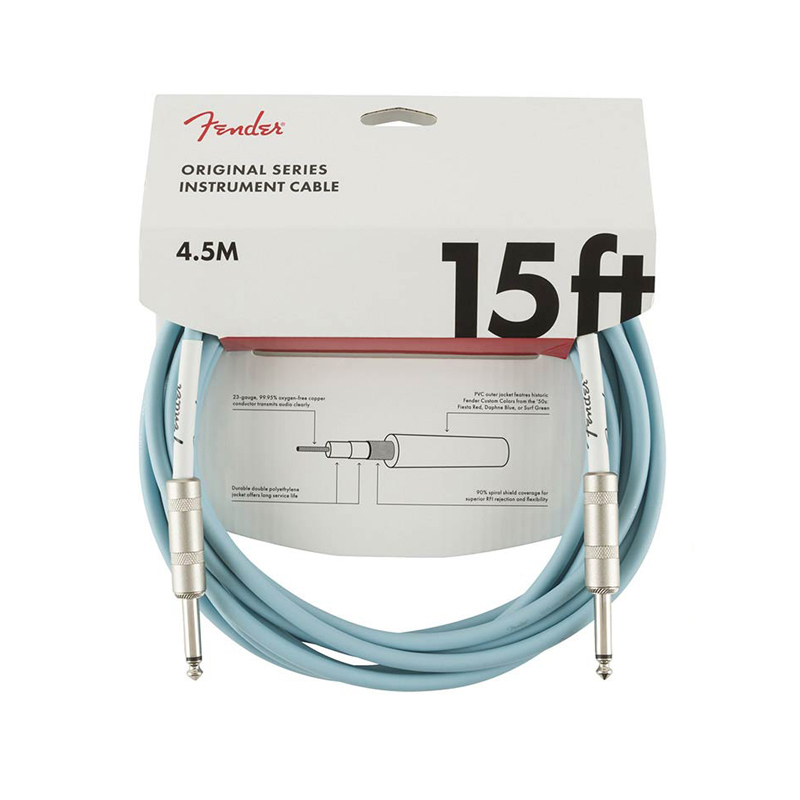 "Fender Original Series câble pour guitare ""Daphne Blue"" 4,5 m"