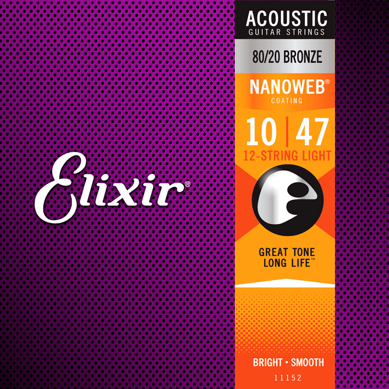 Elixir 11152 Acoustic 80/20 Bronze Nanoweb 12cordes Extra-Light 10-47