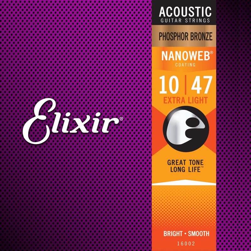 Elixir 16002 Acoustic Phosphor Bronze Nanoweb Extra Light 10-47