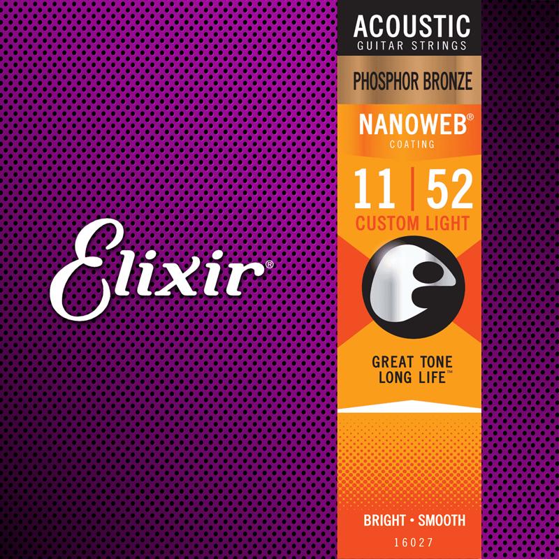 Elixir 16027 Acoustic Phosphor Bronze Nanoweb Custom Light 11-52-nl