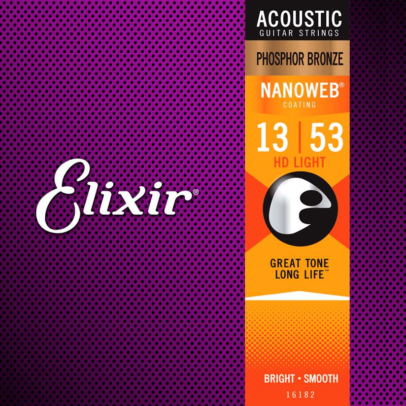 Elixir 16182 Acoustic Phosphor Bronze Nanoweb Medium 13-56-nl